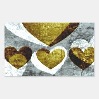 Corazones de la plata y del oro pegatina rectangular