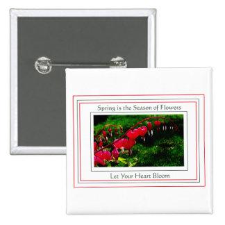 Corazones de la primavera en blanco pin cuadrada 5 cm