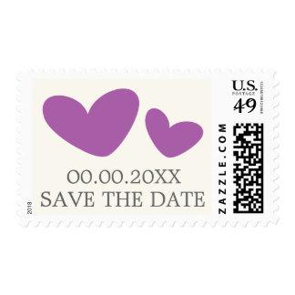 Corazones de la púrpura/del ciruelo que casan franqueo