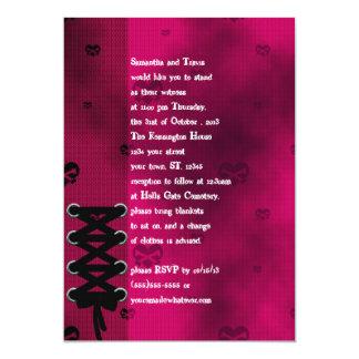 """Corazones de la red en el boda rosado del corsé invitación 5"""" x 7"""""""