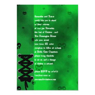 """Corazones de la red en el boda verde tóxico del invitación 5"""" x 7"""""""
