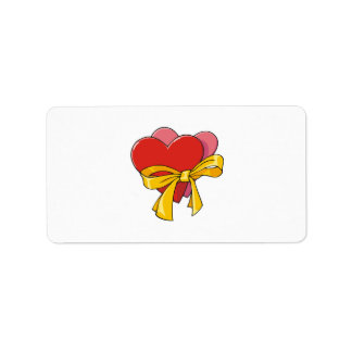 Corazones de la tarjeta del día de San Valentín Etiqueta De Dirección