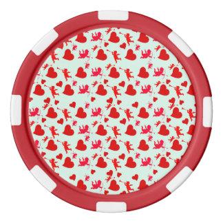 Corazones de la tarjeta del día de San Valentín Juego De Fichas De Póquer