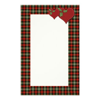 Corazones de la tela escocesa del navidad del amor  papeleria de diseño