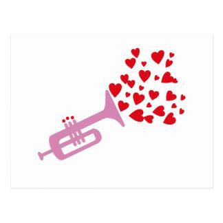 Corazones de la trompeta postal
