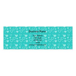 Corazones de la turquesa tarjetas de visita mini