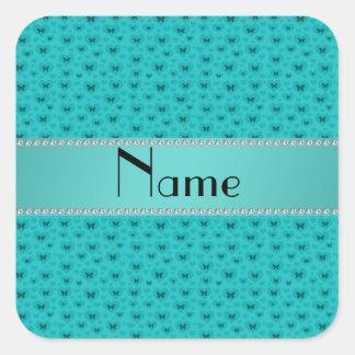 Corazones de la turquesa y nombre personalizado calcomanías cuadradas personalizadas
