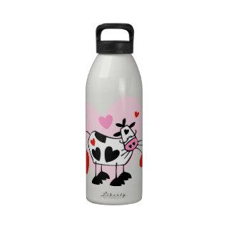 Corazones de la vaca botellas de beber