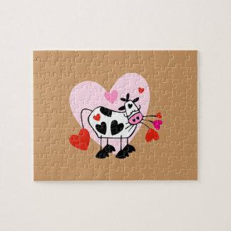 Corazones de la vaca rompecabezas con fotos