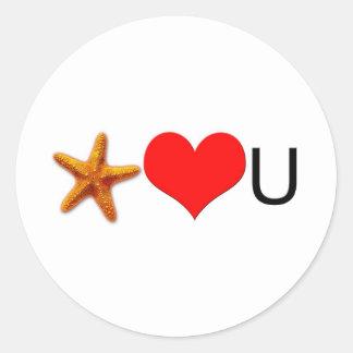 Corazones de las estrellas de mar usted etiquetas redondas