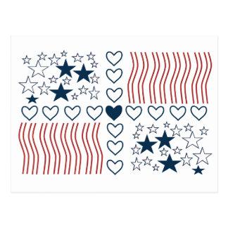 Corazones de las rayas de las estrellas tarjetas postales