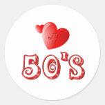 corazones de los años 50 pegatina redonda