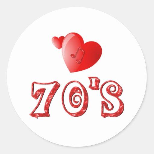 corazones de los años 70 pegatina redonda