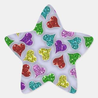 Corazones de los brillos en el fondo blanco pegatina en forma de estrella