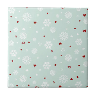 Corazones de los copos de nieve de las vacaciones  azulejo cuadrado pequeño