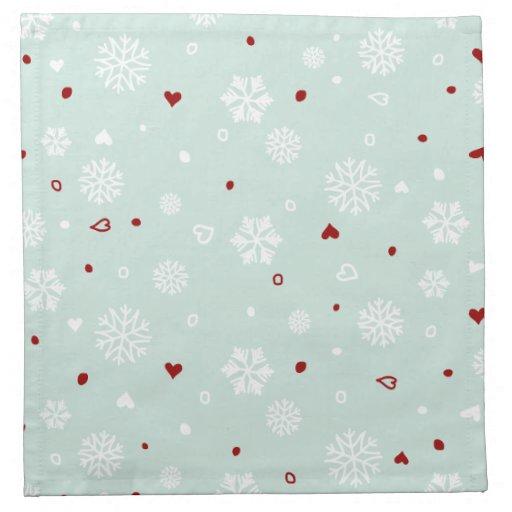 Corazones de los copos de nieve de las vacaciones  servilletas imprimidas