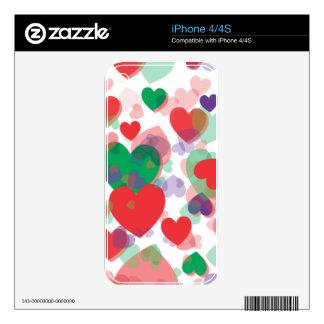 Corazones de los corazones iPhone 4 skin