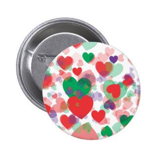 Corazones de los corazones pin redondo de 2 pulgadas