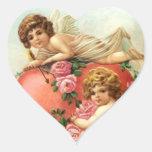 Corazones de los Cupids de la tarjeta del día de Calcomania De Corazon