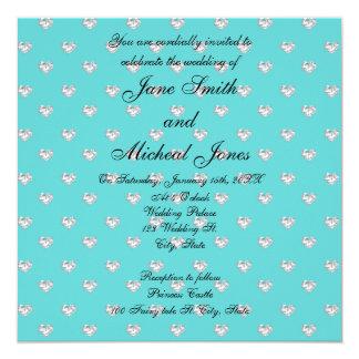 Corazones de los diamantes de la turquesa del invitación personalizada