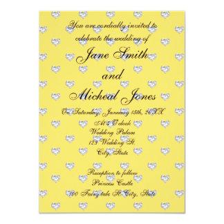 Corazones de los diamantes del amarillo del invitacion personal