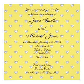 Corazones de los diamantes del amarillo del comunicados personales