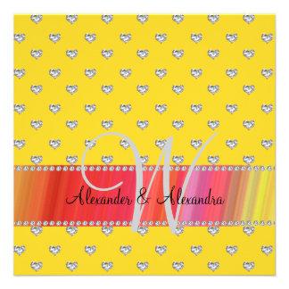 Corazones de los diamantes del amarillo del monogr comunicados personales