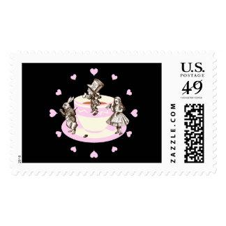 Corazones de los rosas bebés alrededor de una sello