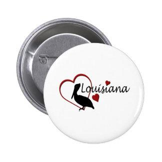 Corazones de Luisiana con el botón de los pelícano Pin Redondo De 2 Pulgadas