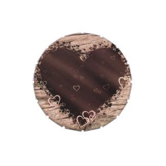 Corazones de madera rústicos del collage del frascos de caramelos