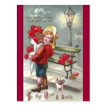 Corazones de O de las porciones y tarjeta del día Postal