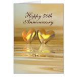 Corazones de oro del aniversario (altos) felicitacion