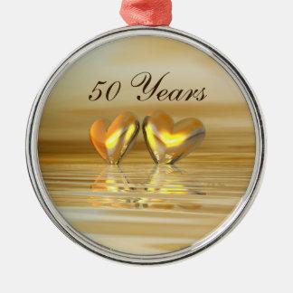 Corazones de oro del aniversario ornatos