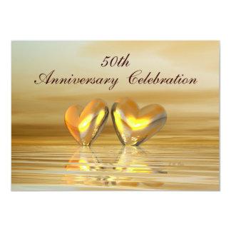 """Corazones de oro del aniversario invitación 4.5"""" x 6.25"""""""