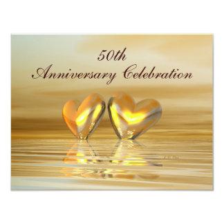 """Corazones de oro del aniversario invitación 4.25"""" x 5.5"""""""