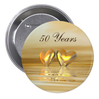 Corazones de oro del aniversario pin redondo de 3 pulgadas