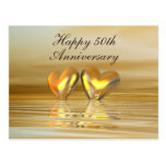 Corazones de oro del aniversario postales