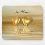 Corazones de oro del aniversario tapete de ratón