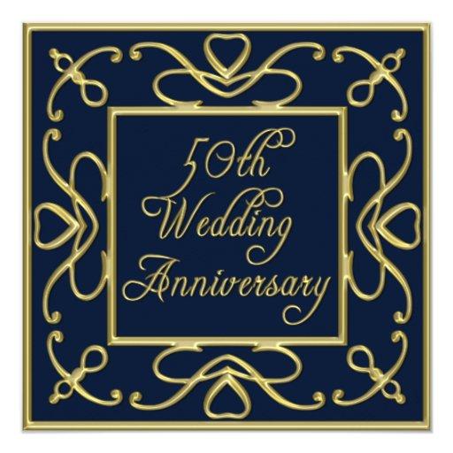 """Corazones de oro en aniversario de boda del azul invitación 5.25"""" x 5.25"""""""