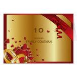 Corazones de oro modernos de lujo de los anillos tarjeta pequeña