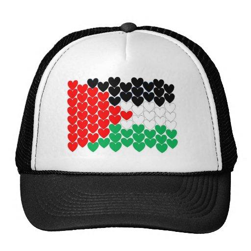 Corazones de Palestina Gorras