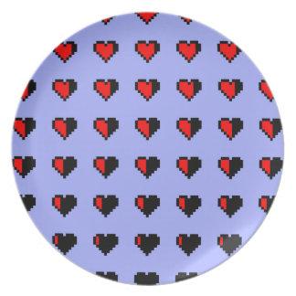 Corazones de Pixeled Platos De Comidas