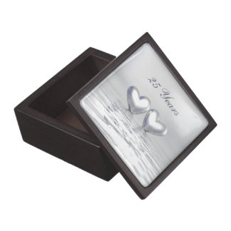 Corazones de plata del aniversario caja de joyas de calidad