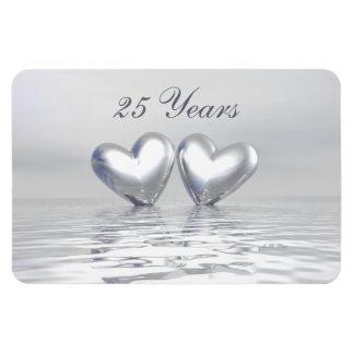 Corazones de plata del aniversario imán flexible
