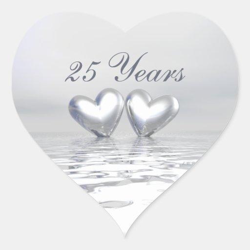 Corazones de plata del aniversario colcomanias de corazon personalizadas