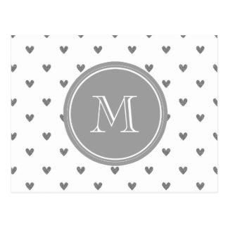 Corazones de plata del brillo con el monograma tarjetas postales