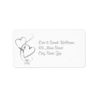 Corazones de plata que casan etiquetas de direcció etiqueta de dirección
