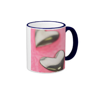 Corazones de plata taza de dos colores