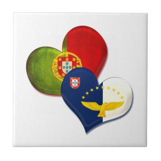 Corazones de Portugal y de Azores Azulejo Cuadrado Pequeño