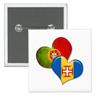 Corazones de Portugal y de Madeira Pin Cuadrada 5 Cm